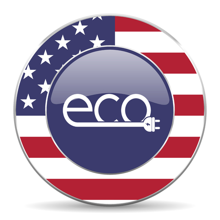 Eco electric plug usa design web american round internet icon with shadow on white background.