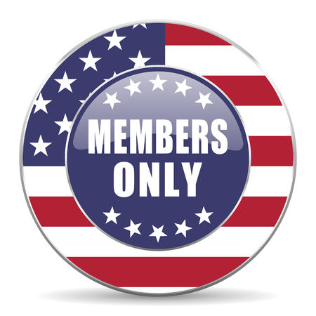 privilege: Members only usa design web american round internet icon with shadow on white background.