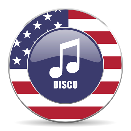Disco music usa design web american round internet icon with shadow on white background. Stock Photo