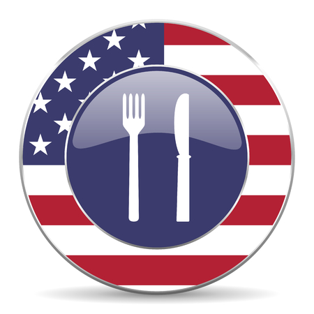 Eat usa design web american round internet icon with shadow on white background.