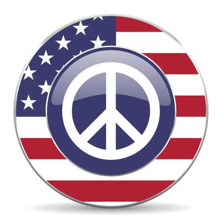 Peace usa design web american round internet icon with shadow on white background.
