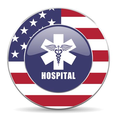 Hospital usa red de diseño web ronda icono de internet con sombra sobre fondo blanco.
