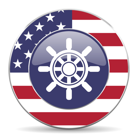 Ship wheel usa design web american round internet icon with shadow on white background.