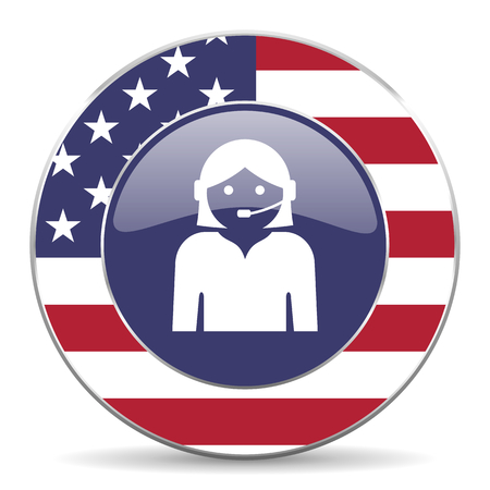 Female usa design web american round internet icon with shadow on white background.