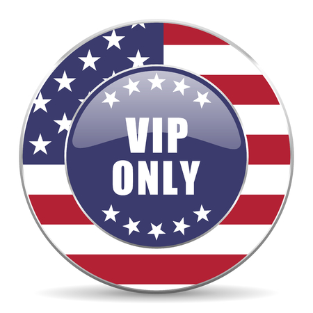 members only: Vip only usa design web american round internet icon with shadow on white background.