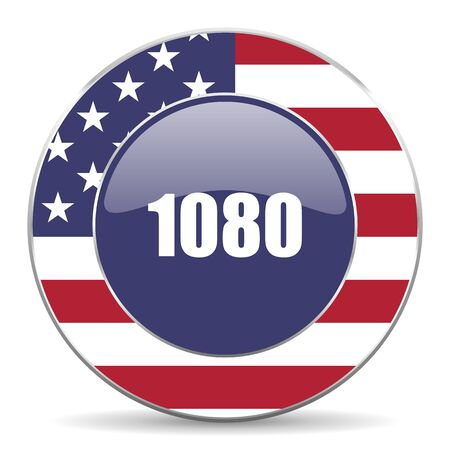 lcd: 1080 usa design web american round internet icon with shadow on white background.
