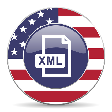 xml: Xml file usa design web american round internet icon with shadow on white background. Stock Photo