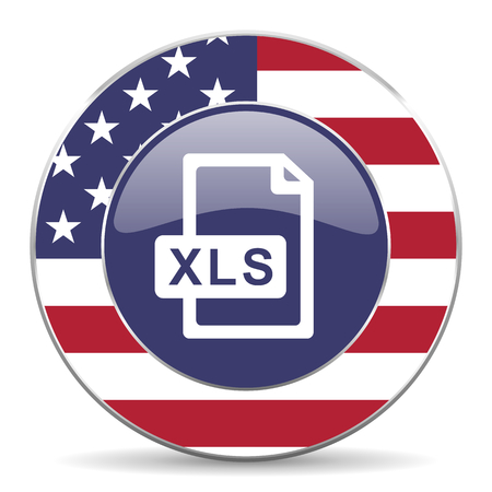 xls: Xls file usa design web american round internet icon with shadow on white background.