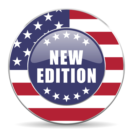 New edition usa design web american round internet icon with shadow on white background. Stock Photo