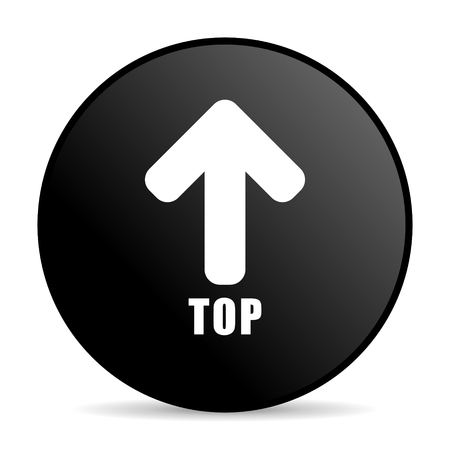 Top black color web design round internet icon on white background.