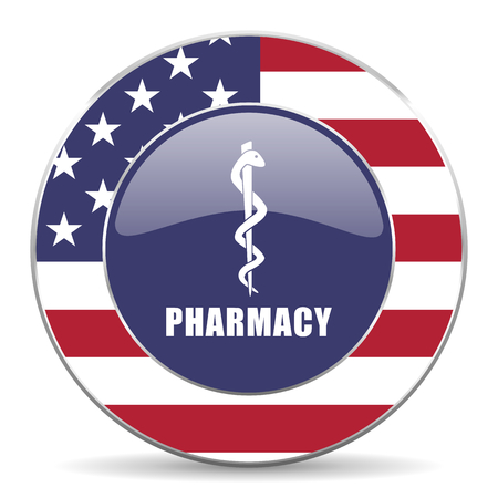 Pharmacy usa design web american round internet icon with shadow on white background. Stock Photo