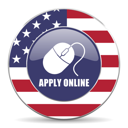 Apply online usa design web american round internet icon with shadow on white background.