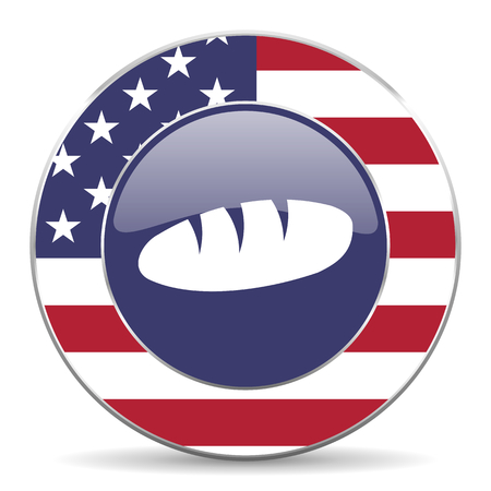 Bread usa design web american round internet icon with shadow on white background.