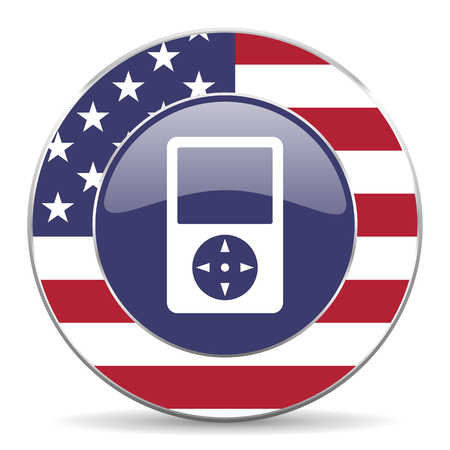 Multimedia player usa design web american round internet icon with shadow on white background. Stock Photo