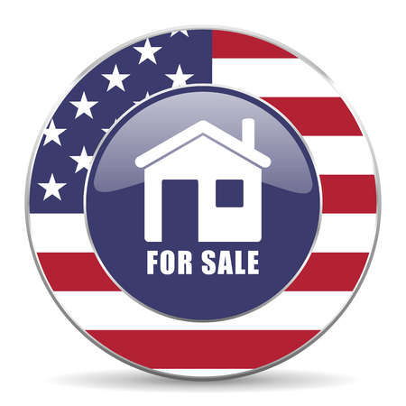 investment real state: For sale usa design web american round internet icon with shadow on white background. Foto de archivo