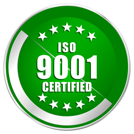 Iso 9001 silver metallic border green web icon for mobile apps and internet.