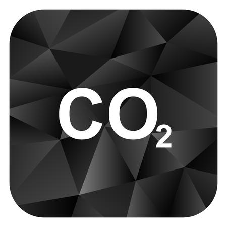 Carbon dioxide black color web modern brillant design square internet icon on white background.