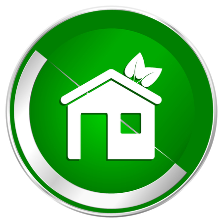 House silver metallic border green web icon for mobile apps and internet. Stock Photo