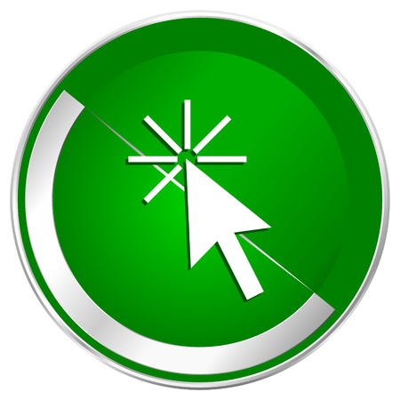 Click here silver metallic border green web icon for mobile apps and internet. Stock Photo