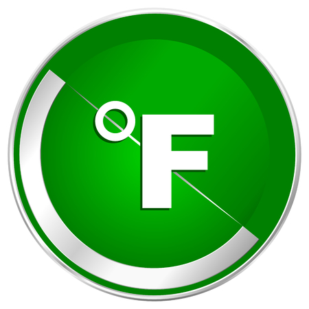 Fahrenheit silver metallic border green web icon for mobile apps and internet. Stock Photo