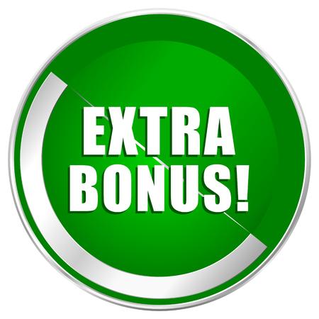 Extra bonus silver metallic border green web icon for mobile apps and internet.