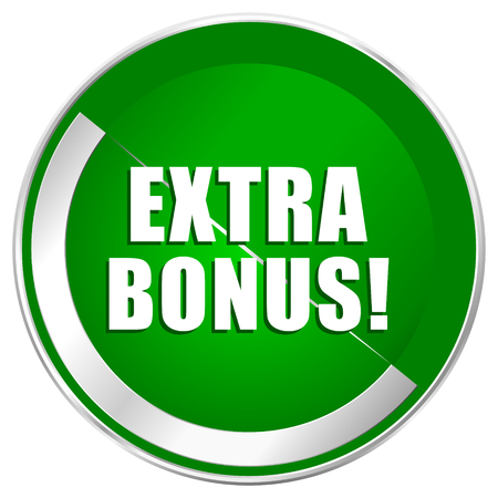 discounting: Extra bonus silver metallic border green web icon for mobile apps and internet.