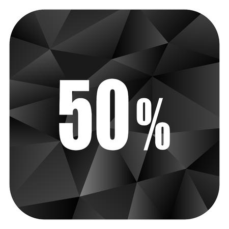 50 percent black color web modern brillant design square internet icon on white background.