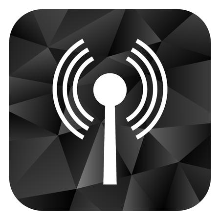Wifi black color web modern brillant design square internet icon on white background. Reklamní fotografie