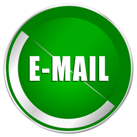 secretariat: Email silver metallic border green web icon for mobile apps and internet. Stock Photo