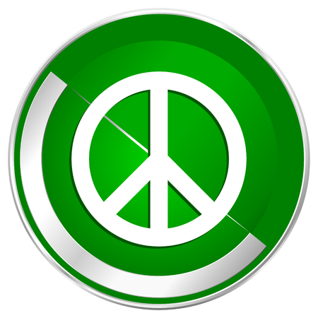 antiwar: Peace silver metallic border green web icon for mobile apps and internet.