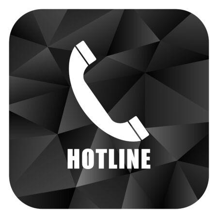 Hotline black color web modern brillant design square internet icon on white background. Stock Photo