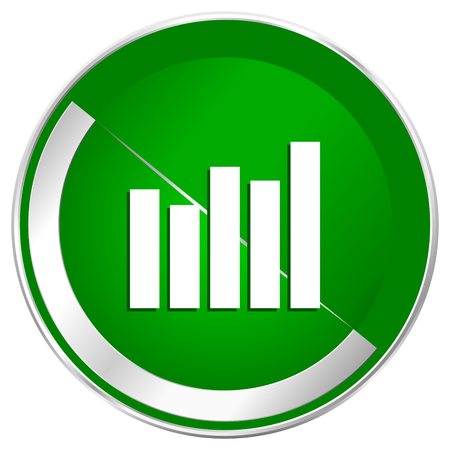 industry trends: Graph silver metallic border green web icon for mobile apps and internet.