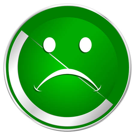 Cry silver metallic border green web icon for mobile apps and internet. Stock Photo