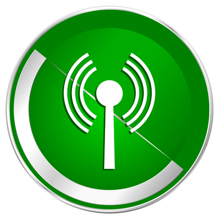 Wifi silver metallic border green web icon for mobile apps and internet.