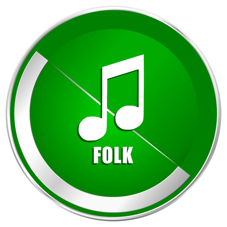Folk music silver metallic border green web icon for mobile apps and internet. Stock Photo