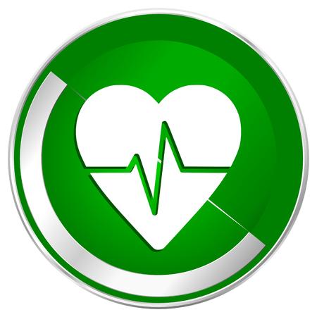 electrocardiograma: Pulse silver metallic border green web icon for mobile apps and internet. Foto de archivo
