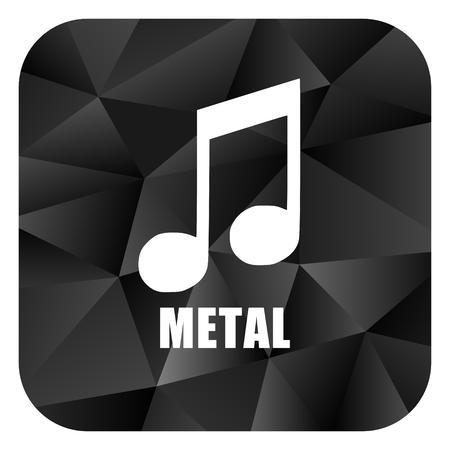 listen live stream: Metal music black color web modern brillant design square internet icon on white background. Stock Photo