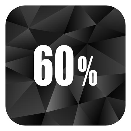 60 percent black color web modern brillant design square internet icon on white background. Stock Photo