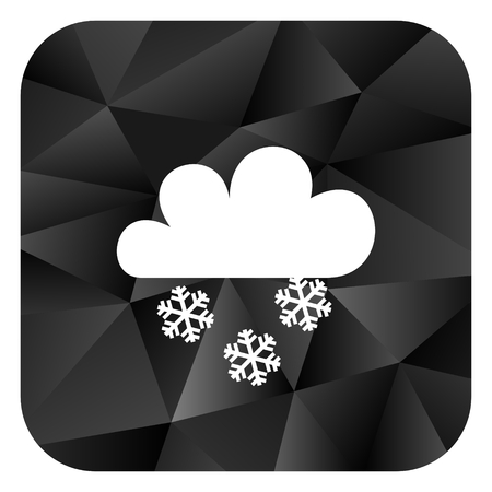 Snowing black color web modern brillant design square internet icon on white background.