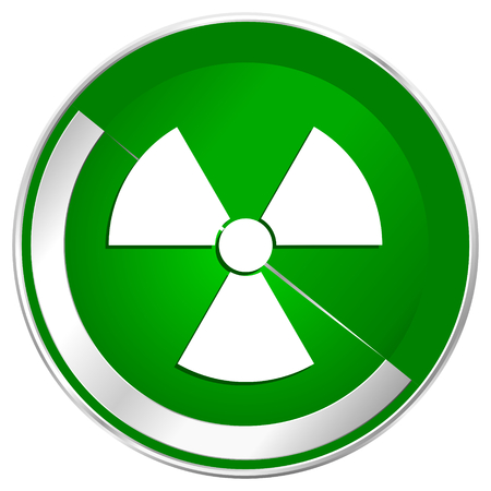 Radiation silver metallic border green web icon for mobile apps and internet.