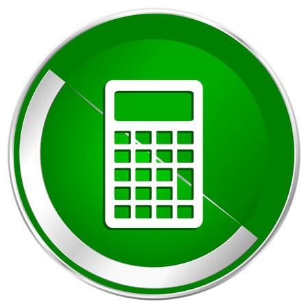 Calculator silver metallic border green web icon for mobile apps and internet.