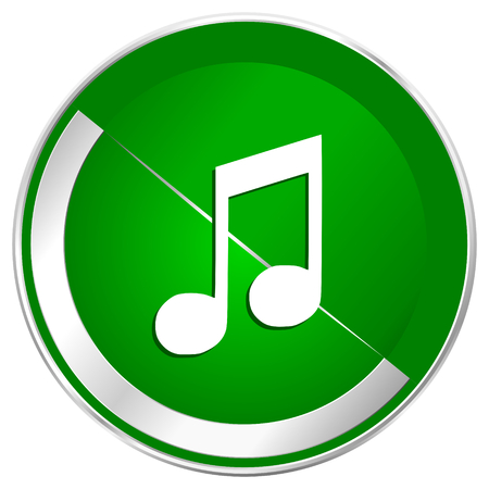 Music silver metallic border green web icon for mobile apps and internet. Stock Photo