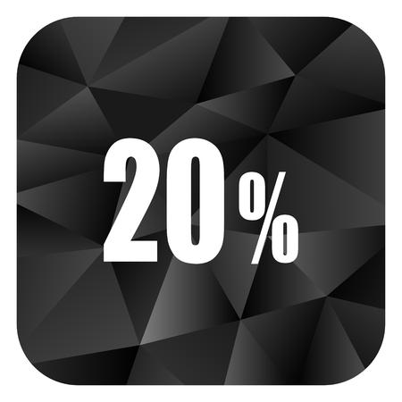 20 percent black color web modern brillant design square internet icon on white background. Stock Photo