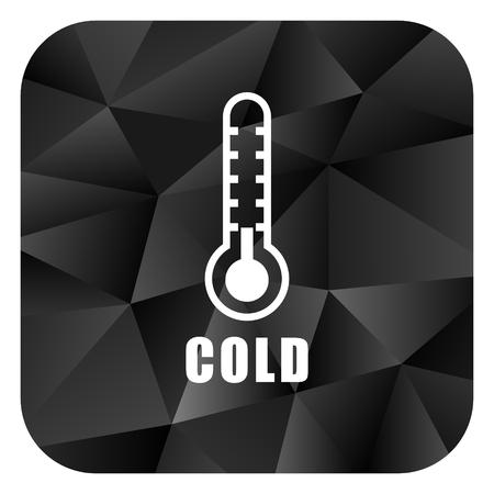 Cold thermometer black color web modern brillant design square internet icon on white background. Stock Photo