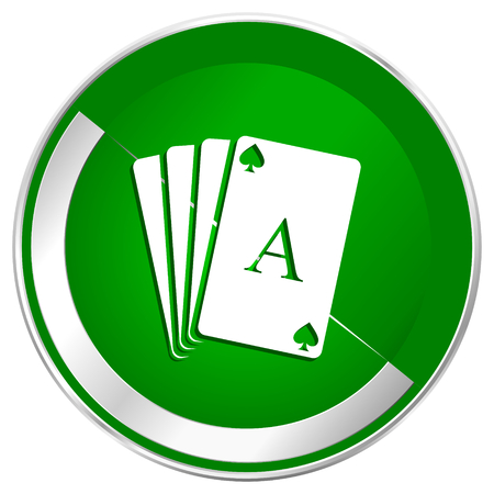 Card silver metallic border green web icon for mobile apps and internet. Stock Photo