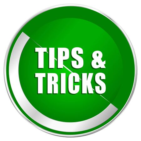 Tips tricks silver metallic border green web icon for mobile apps and internet. Stock Photo