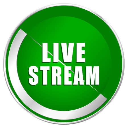 livestream: Live stream silver metallic border green web icon for mobile apps and internet.