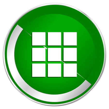 Thumbnails grid silver metallic border green web icon for mobile apps and internet.