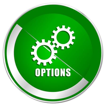 Options web bordure métallique argenté web icône pour les applications mobiles et internet.