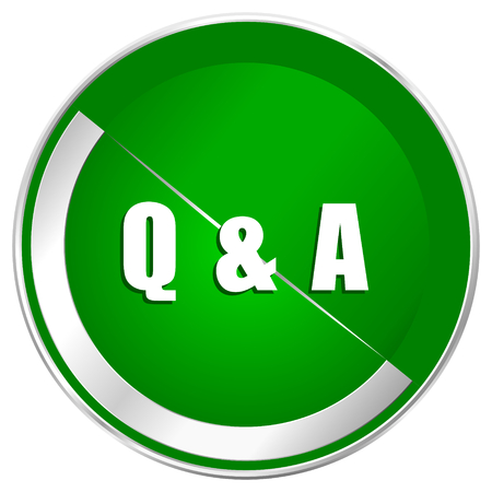 Question answer silver metallic border green web icon for mobile apps and internet. Stock Photo
